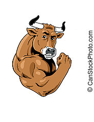 Strong Bull - Muscular, grinning bull icon
