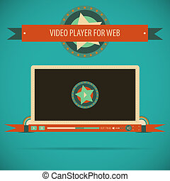 Retro vintage video player interface for web - Vector...
