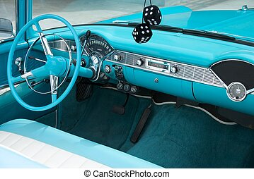 Dash of 1956 Convertible - Interior shot of a blue colored...
