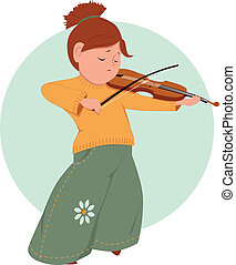 Little girl playing violin - Cute cartoon elementary school...
