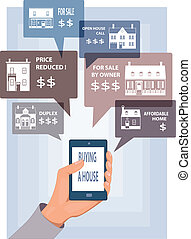 Mobile search for real estate - Hand with a smart phone with...