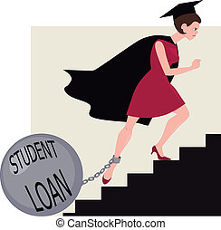 Student loan burden - Young woman in a graduation mantle and...