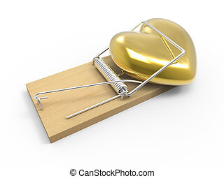 3d Gold heart in mousetrap - 3d render of a golden heart...