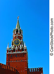 Spasskaya tower in Kremlin - Spasskaya clock tower in the...