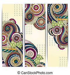 Ethnic Pattern Cards With Paisley, Doodles. - Series of...