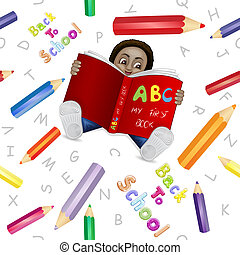 Reading boy with colored pencils pa