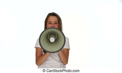 Front View of Girl Shouting Through Megaphone, Waist Up on...