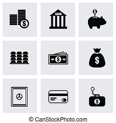Vector black bank icons set on grey background