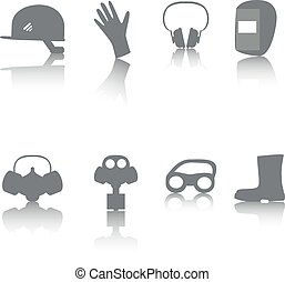 icon set of PPE - Vector icon set of personal protective...