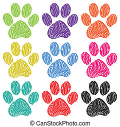 Paw Prints - Illustration set of paw prints on a white...