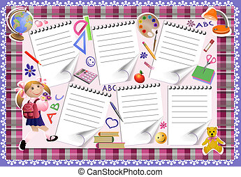 School timetable of lessons and little girl. Template notes,...