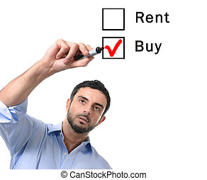 business man choosing rent or buy option at formular real...