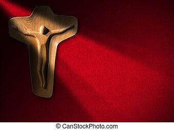 legno, religioso,  -, crocifisso, fondo