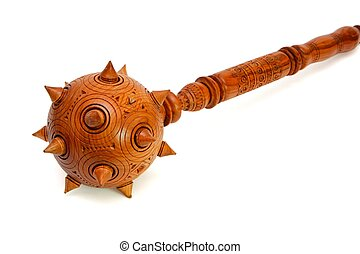 Wooden spiky souvenir mace isolated on white