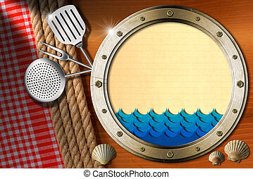 Seafood - Menu Template - Metal porthole with blue waves and...