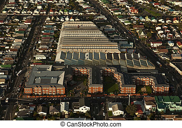 Aerial View of Resthome and Bus Depot - A rest home and bus...