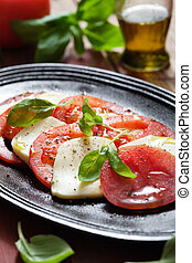 Tomato and mozzarella salad - Fresh tomato and mozzarella...