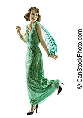 Woman feather in fashion retro sequin dress walking or dancing