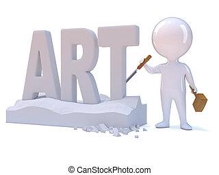3d Little man carves the word Art - 3d render of a little...