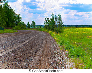 wet gravel road - country landscape with wet gravel road...