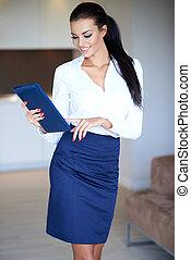 Stylish slender beautiful young woman