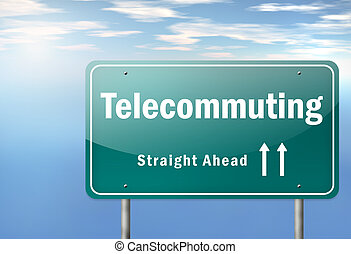 Highway Signpost Telecommuting - Highway Signpost with...