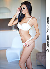 Beautiful slender sexy young woman in lingerie - Beautiful...