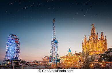 BARCELONA, SPAIN, Temple at Tibidabo - BARCELONA, SPAIN...