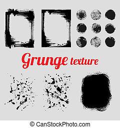 Grunge vector texture set (frames, splatter textures, smear...