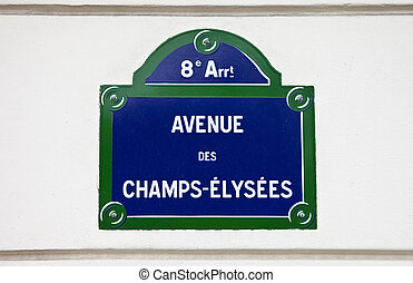 Avenue Des Champs-Elysees in Paris - A Street sign for...