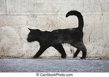 Black Cat Graffiti - Graffiti outline of a black cat in...