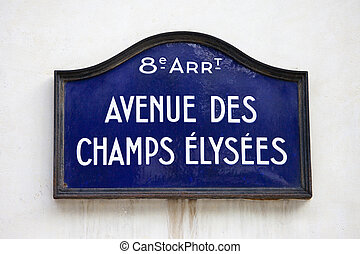 Avenue Des Champs-Elysees in Paris - Street sign for Avenue...