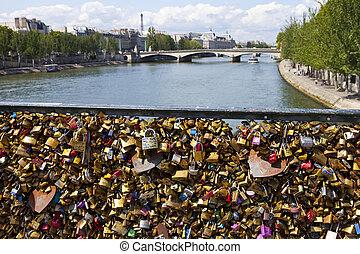 The Love Locks on the Pont des Arts in Paris - PARIS, FRANCE...