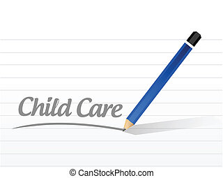 child care message illustration design over a white...