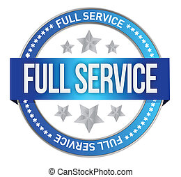 full service seal illustration design over a white...