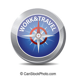 work and travel compass illustration design over a white...