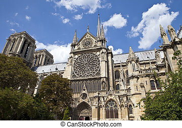 Notre Dame in Paris - The beautiful Notre Dame Cathedral in...