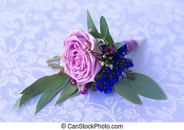 púrpura, rosa, Boutonniere, novio, vendimia