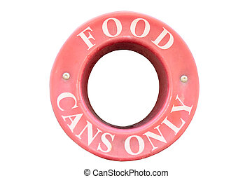 food cans only sign with clipping path