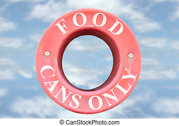 food cans only sign with clouds