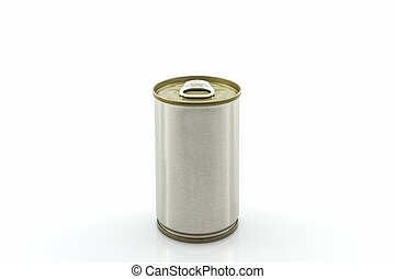 Closeup aluminum tin can - Closeup aluminum tin can on white...