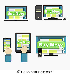 Buy online - Button Buy Now in different media device:...