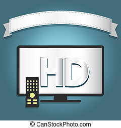 High definition tv with a ribbon for insert text.
