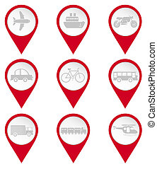 Map pin icons of transports: car, airplane, ship, motocycle,...