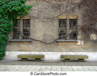 Stone benches and windows in Krakow, Poland