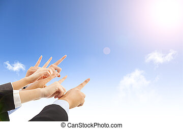 business people hands with blue sky background