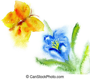 watercolor dark blue  flower and yellow butterfly on a white bac