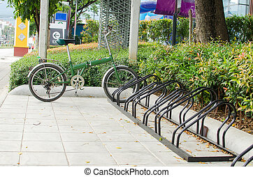 bicycle parking in the center of the city, ecological mobility