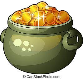 Cauldron with money isolated on white background