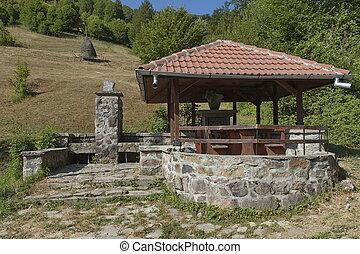 lugar, reposo, Balcánico, Montaña